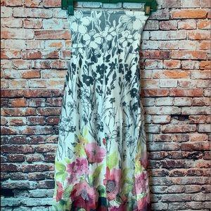 Cream floral tube top dress lapis summer
